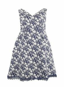 **Lovedrobe Blue Jacquard Skater Dress, Navy/White