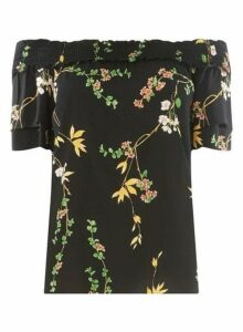 Womens Black Floral Print Bardot Top- Black, Black