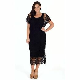 Chesca Crochet Dress, Black