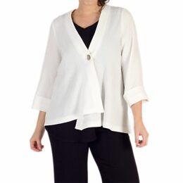 Chesca Asymmetric Textured Jacket, Ivory