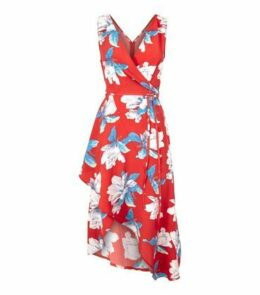 AX Paris Red Floral Wrap Front Dress New Look