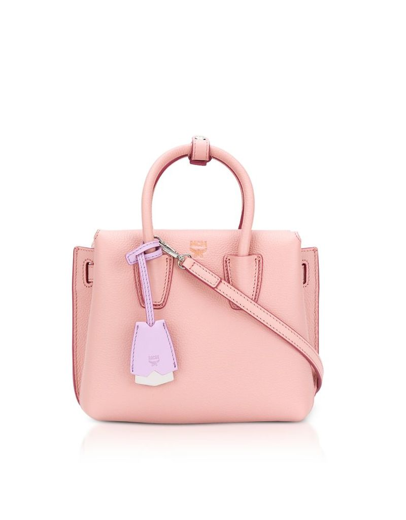 MCM Designer Handbags, Milla Pink Blush Leather Small Tote Bag
