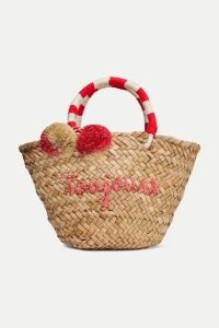 Kayu - St Tropez Mini Pompom-embellished Embroidered Woven Straw Tote - Neutral