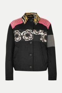 Prada - Studded Printed Canvas And Denim Jacket - Black