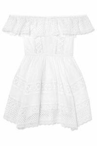 Charo Ruiz - Vaiana Crocheted Lace-paneled Cotton-blend Mini Dress - White