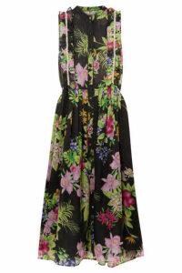 Dodo Bar Or - Crystal-embellished Floral-print Chiffon Midi Dress - Black