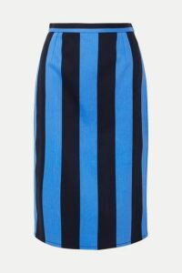Prada - Striped Denim Midi Skirt - Blue