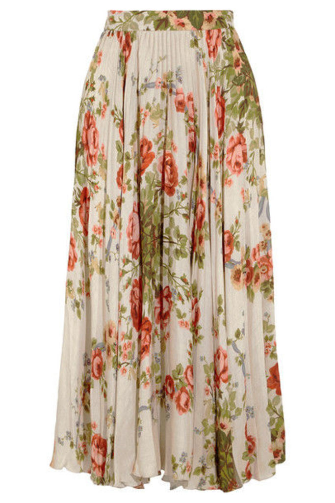 Gucci for NET-A-PORTER - Pleated Floral-print Silk Midi Skirt - Ecru