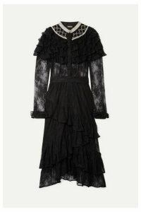 Dodo Bar Or - Ruffled Crystal-embellished Lace Midi Dress - Black