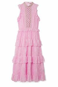 Dodo Bar Or - Ruffled Crystal-embellished Lace Midi Dress - Baby pink