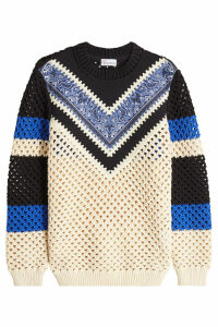 RED Valentino Fisherman Chevron Pullover with Paisley Print
