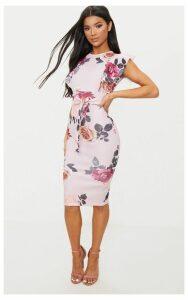 Dusty Pink Floral Print Frill Detail Midi Dress, Dusty Pink