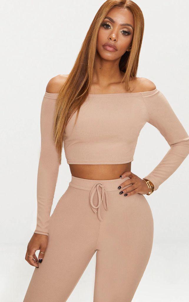 Shape Nude Ribbed Bardot Long Sleeve Crop Top, Pink