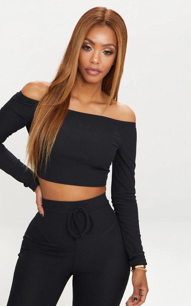 Shape Black Ribbed Bardot Long Sleeve Crop Top, Black