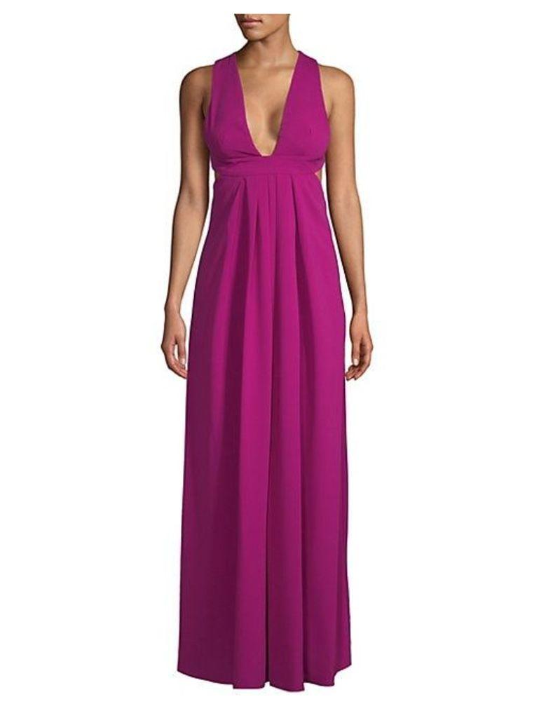 Plunge Open Back Floor-Length Dress