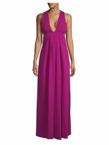 Plunge Open Back Floor-Length Dress