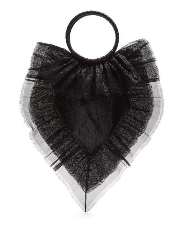 The Vampire's Wife - Ruffle Trimmed Woven Clutch - Womens - Black