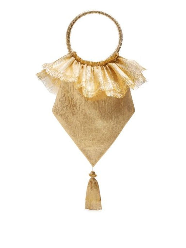 The Vampire's Wife - Tassel Embellished Woven Clutch - Womens - Gold