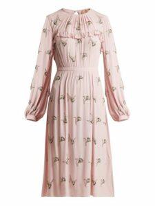 No. 21 - Floral Embellished Crepe Dress - Womens - Pink Multi