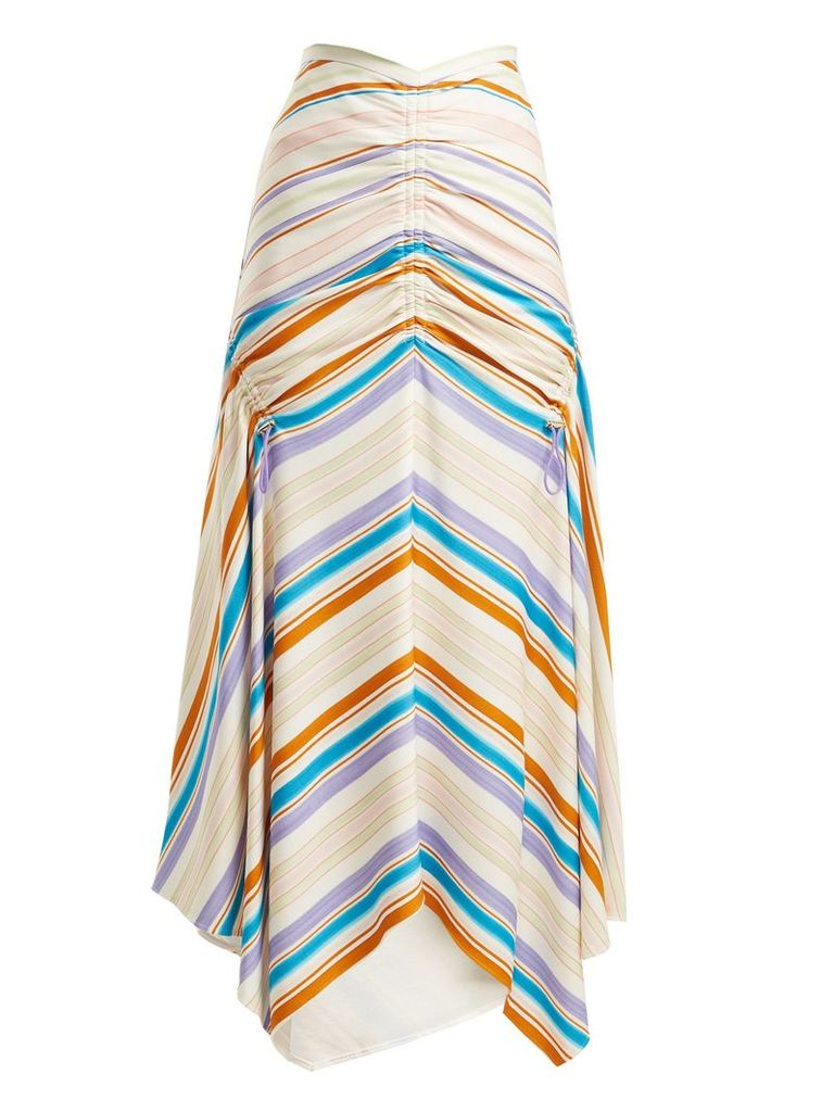 Ruched striped-jersey skirt