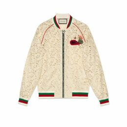 Flower lace bomber jacket