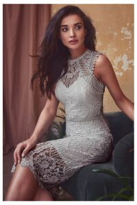 Lipsy Petite VIP Embroidered Lace Midi Dress - 12 - Silver