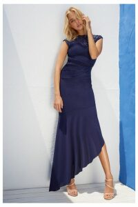 Lipsy Petite Sequin Built Up Asymmetric Maxi Dress - 14 - Blue