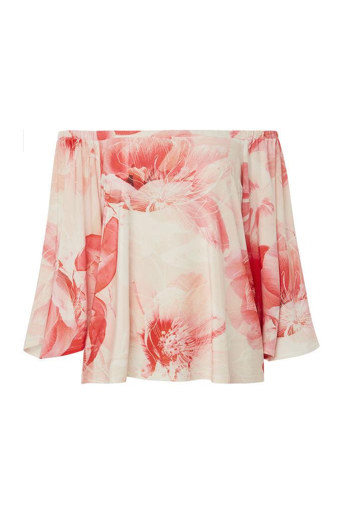Floral Print Jersey Bardot