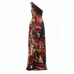 Sarvin - Claret One shoulder Side Slit Print Dress