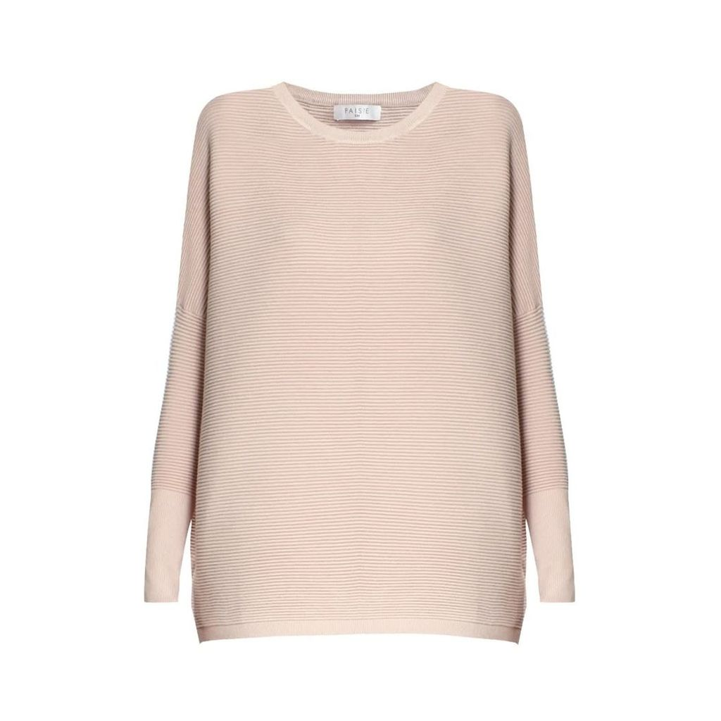 PAISIE - Blush Ribbed Jumper With Side Splits