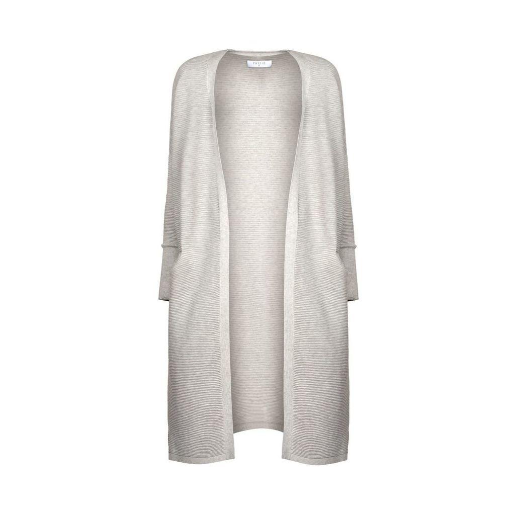 PAISIE - Light Grey Ribbed Cardigan