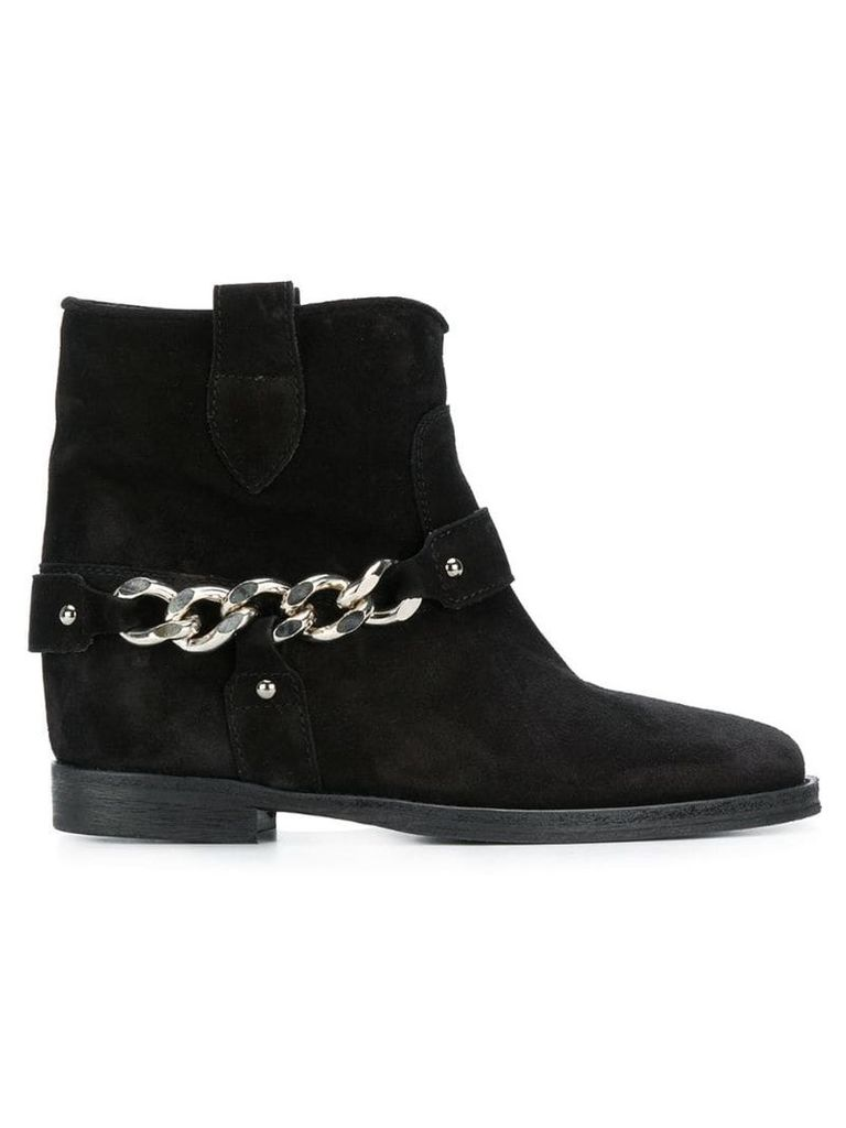 Via Roma 15 chain embellished ankle boots - Black