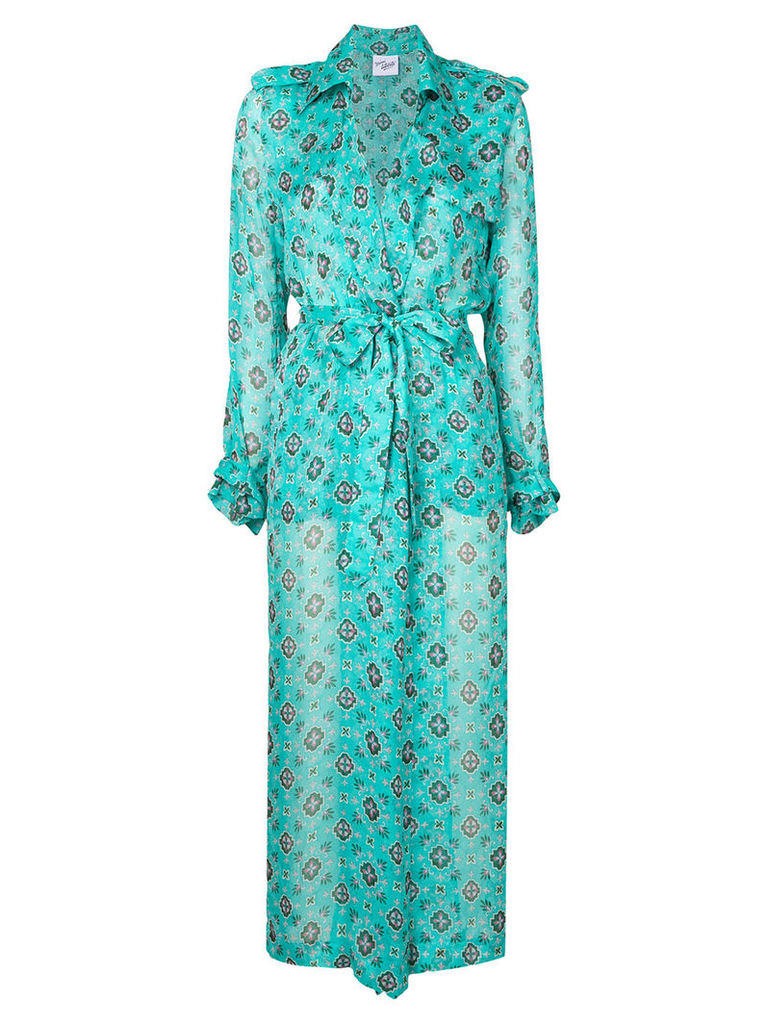 Michel Klein patterned robe coat - Green