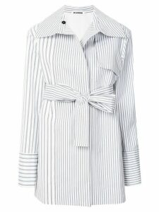Jil Sander striped belted coat - White