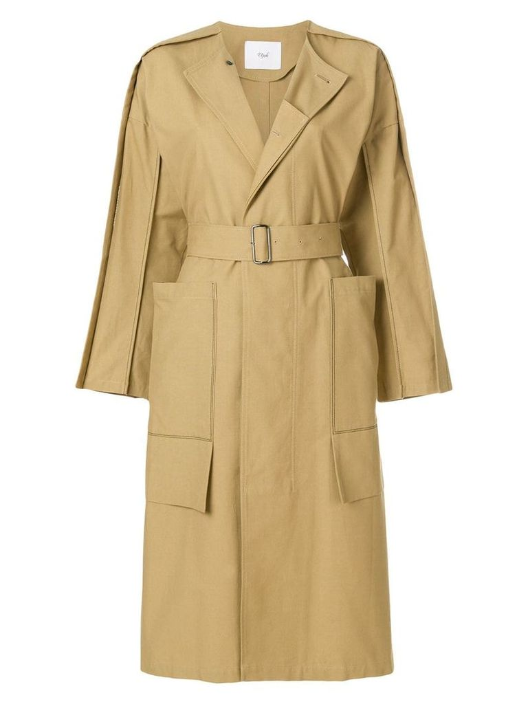 Ujoh side slit collarless trench coat - Neutrals