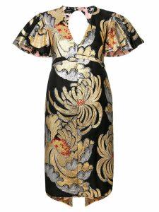 Rochas brocade frill sleeve dress - Multicolour