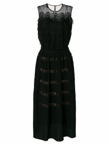 Rochas ruffle lace panel dress - Black