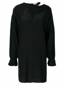 Giacobino embellished neck oversized dress - Black