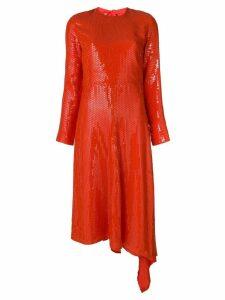 MSGM asymmetric hem sequinned dress - Yellow