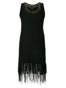 Balmain fringe-trimmed tweed dress - Black