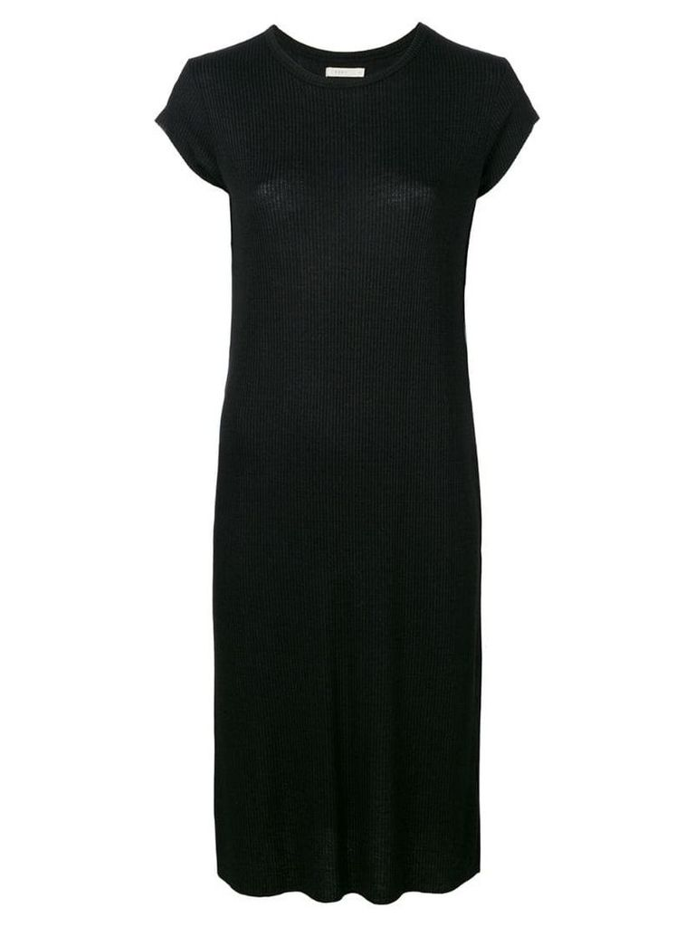 6397 ribbed detail T-shirt dress - Black