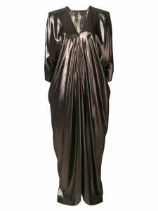 Alberta Ferretti long flared metallic dress