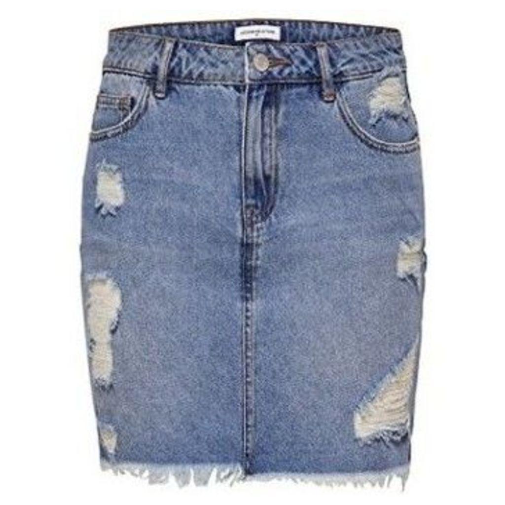 Only  FALDA  JDYPEACE HIGH LOW SKIRT DNM  women's Skirt in Blue