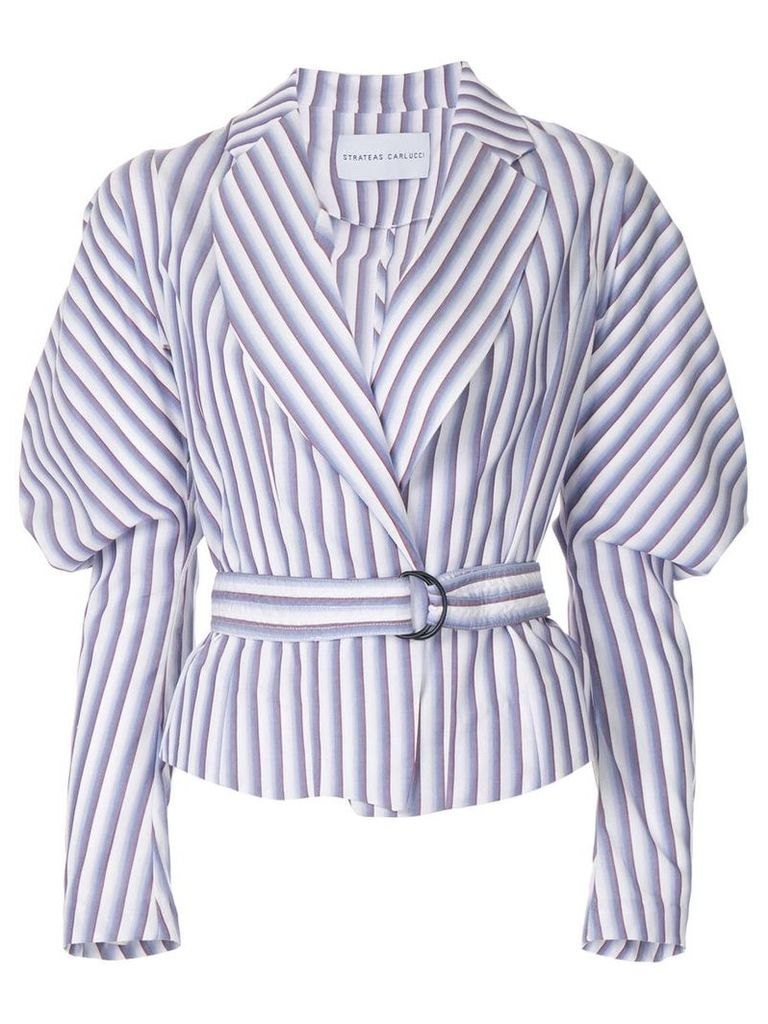 Strateas Carlucci Cumulus puff-sleeve striped belted jacket - Pink