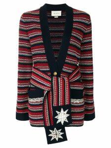 Gucci stripe bouclé belted jacket - Blue