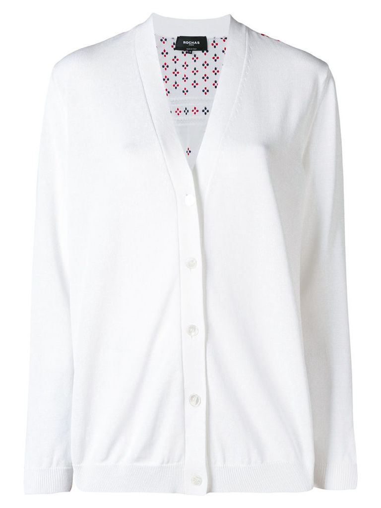 Rochas embroidered back cardigan - White