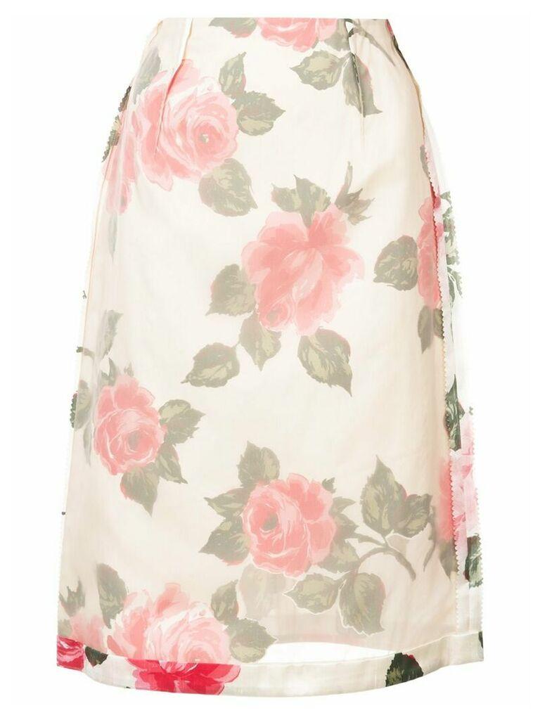 Maison Margiela inverted floral print skirt - Neutrals
