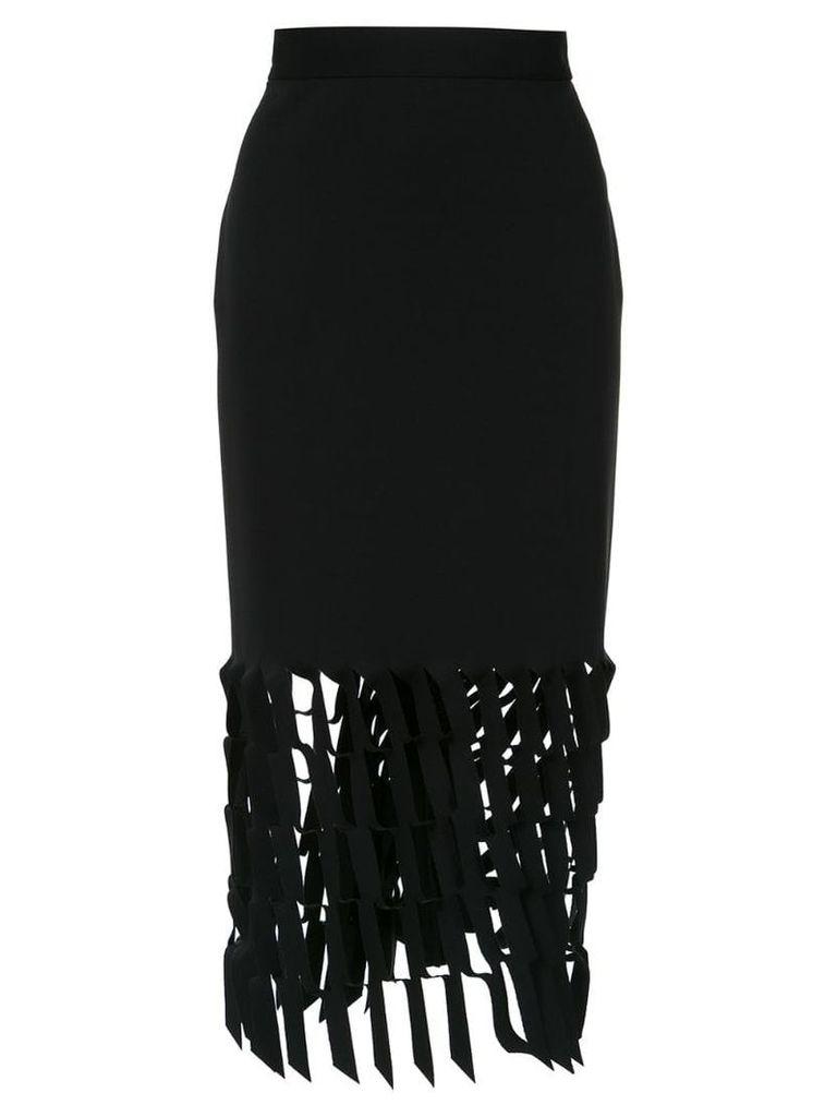 Gloria Coelho cut out pattern midi skirt - Black