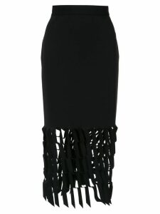 Gloria Coelho cut out pattern midi skirt - Black