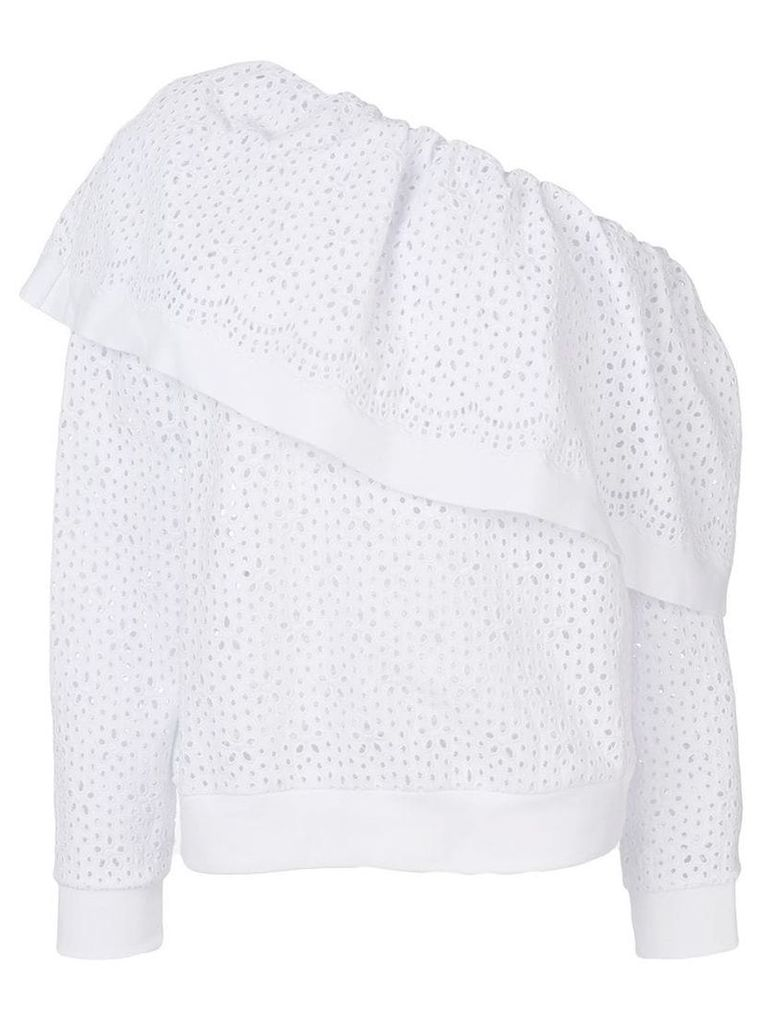 MSGM broderie anglaise one-shoulder blouse - White
